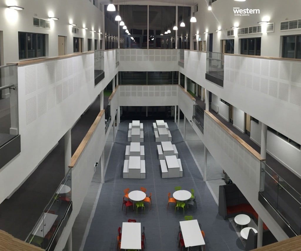The view overlooking the atrium at the Garth Hill College six form centre